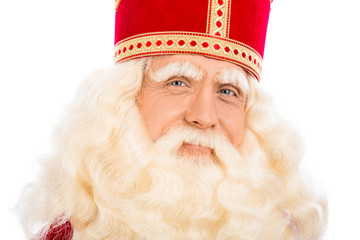Close up of Sinterklaas on white background