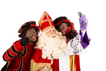 Sinterklaas and Zwarte Piet taking Selfie