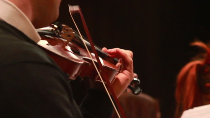 Lead violin performs classical music part, male playing concert