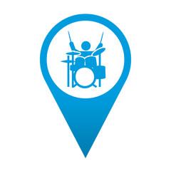 Icono localizacion simbolo musico de bateria