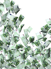 Flying banknotes of euro