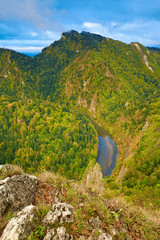 The Dunajec River Gorge in The Pieniny Mountains, Carpathians.