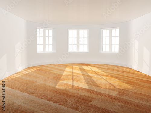 Empty room with bay window