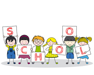 children with school posters