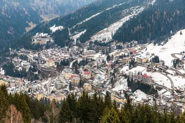 Ski resort town Bad Gastein in winter snowy mountains, Austria