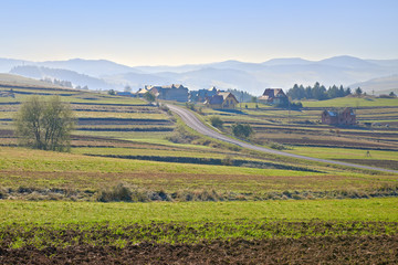 Rural landscape in The Pieniny Mountains.