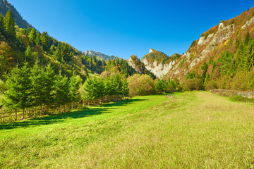 Sunny landscape in The Pieniny Mountains. Carpathians.