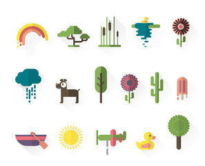 Nature, animal and ice cream icons set.
