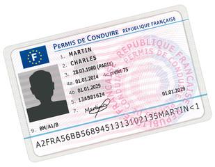 Permis de conduire français. Nouveau format.