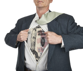 Businessman showing fifty dollar bill superhero suit underneath