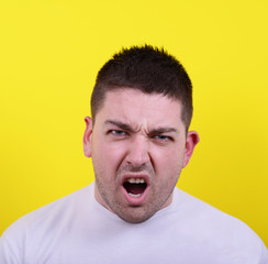 Portrait of angry man screaming
