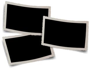 fonds noirs pour trois photos anciennes