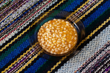 Baked Beans on a colorful rug Bulgarian