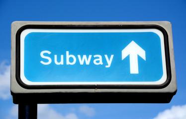 Blue subway sign