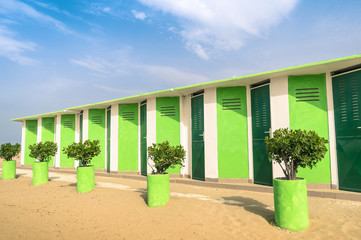 Colorful dressing Cabins at the Rimini Beach