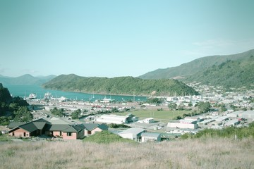 Picton, New Zealand. Cross processed color tone