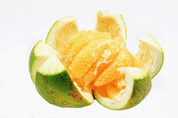 Thai pomelo fruit Peeled on white background.