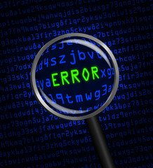 """ERROR"" revealed in computer code through a magnifying glass"
