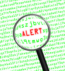 """ALERT"" revealed in computer code through a magnifying glass"