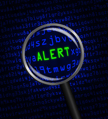 """ALERT"" in green revealed in blue computer machine code through"