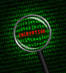"""""""ENCRYPTION"""" revealed in computer code through a magnifying glas"""