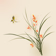 Oriental style painting, orchid flowers and butterfly