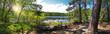 Leinwanddruck Bild - Leśna panorama nad brzegiem jeziora