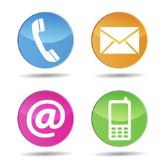 Colorful Contact Us Web Icons