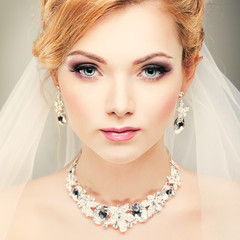 beautiful girl in a wedding-dress. Wedding decorations