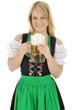 Blondine im Dirndl mit Maßkrug Bier