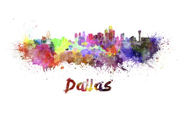 Dallas skyline in watercolor