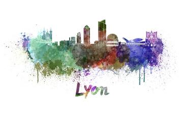 Lyon skyline in watercolor