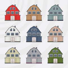 Townhouses icon set.