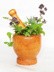 mortar and herbs