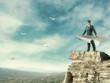Businessman flying on paper plane - 65470827