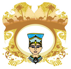 vintage frame with Egyptian queen
