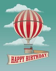 Happy Birthday greeting card - vintage air balloon vector design