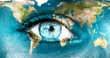 "Leinwandbild Motiv Planet earth and blue human eye - ""Elements of this image furnis"