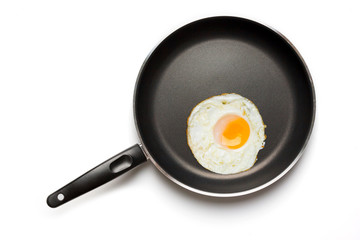 Fried egg in a frying pan isolated