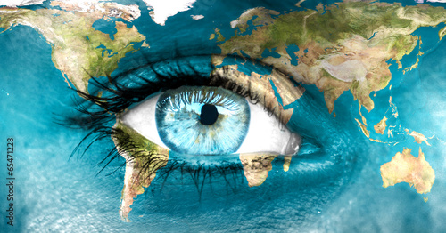 "Leinwanddruck Bild Planet earth and blue human eye - ""Elements of this image furnis"