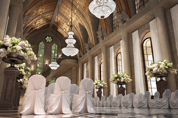 Church Cathedral wedding interior with rows of elegant chairs