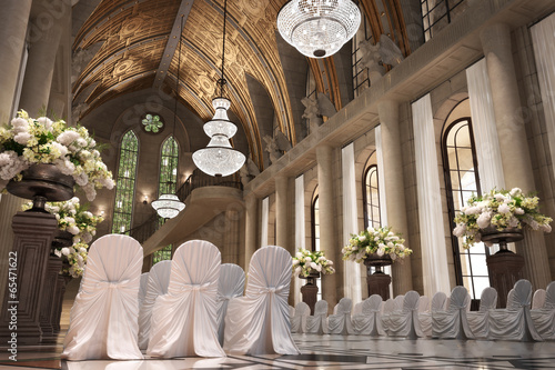 Aluminium Bedehuis Church Cathedral wedding interior with rows of elegant chairs