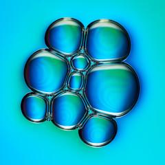 Bunte Luftblasen in einer petrischale