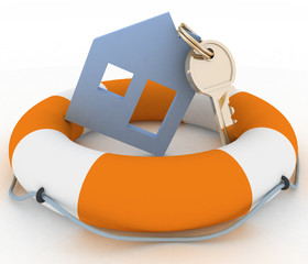 House insurance concept. Icon of House in Life Buoy