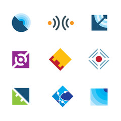 Global internet connection simple cube design template logo icon