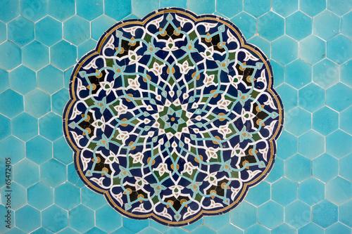 Fotobehang Midden Oosten islamic mosaic pattern with blue tiles