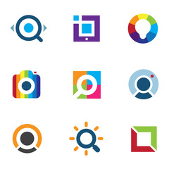 Expore fun colorful world social internet community logo icon