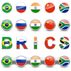 BRICS – Set of icons, metal buttons with national flags