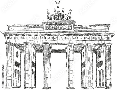 Fototapete Berlin Brandenburger Tor Zeichnung Illustration