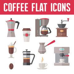 Coffee Vector Icons In Flat Design Style